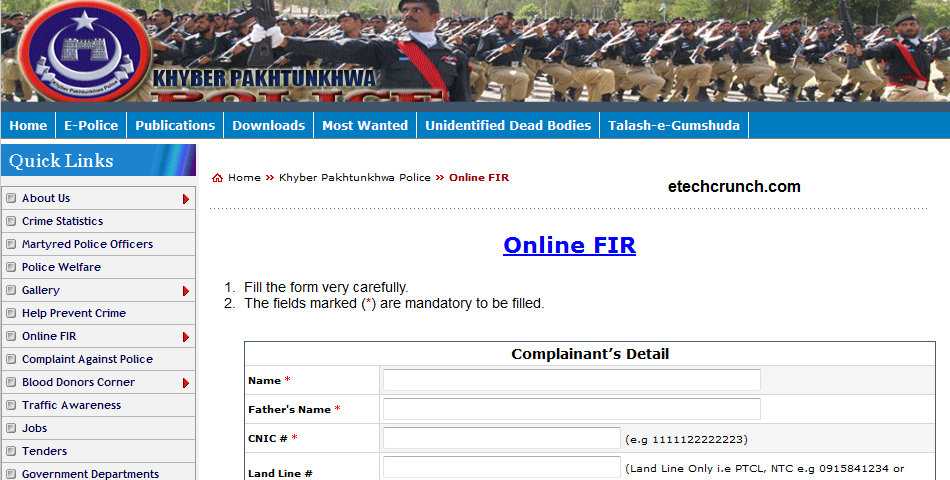 Pakhtunkhwa (KPK) police launched Online FIR registration system